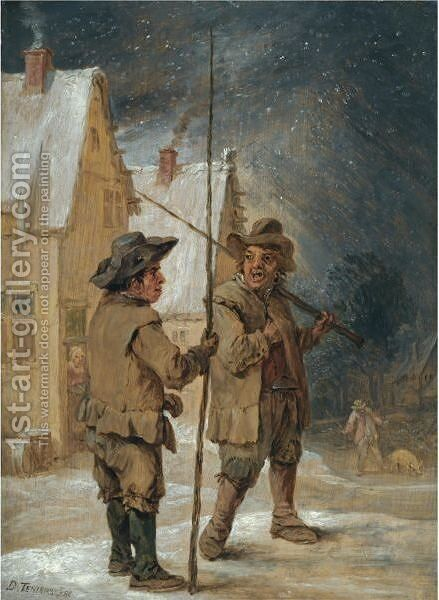A Winter Scene With Two Chimneysweeps Conversing Before Some Cottages by David The Younger Teniers - Reproduction Oil Painting