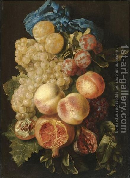 A Still Life With Plums, Grapes, Peaches And A Pomegranate Tied With A Blue Ribbon by Carstian Luyckx - Reproduction Oil Painting
