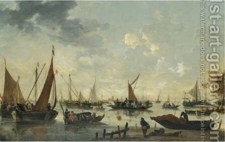 Boats And Ships On The River Maas, The Grote Kerk And Dordrecht In The Distance by Hendrick de Meyer - Reproduction Oil Painting