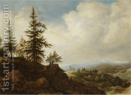 A Mountainous Landscape With A Figure Passing A Timber Shed In The Foreground by Allaert van Everdingen - Reproduction Oil Painting
