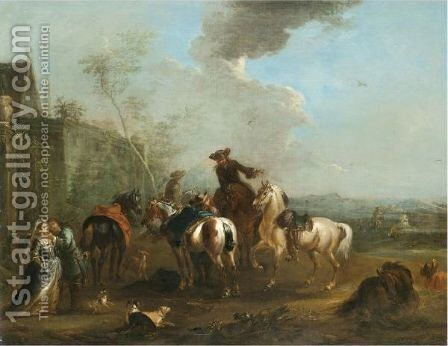 A Hunting Party At Rest With A Huntsman Caressing An Elegant Lady by August Querfurt - Reproduction Oil Painting