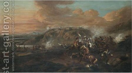 A Cavalry Battle In A Valley Beneath A Fortified City by Jan Wyck - Reproduction Oil Painting