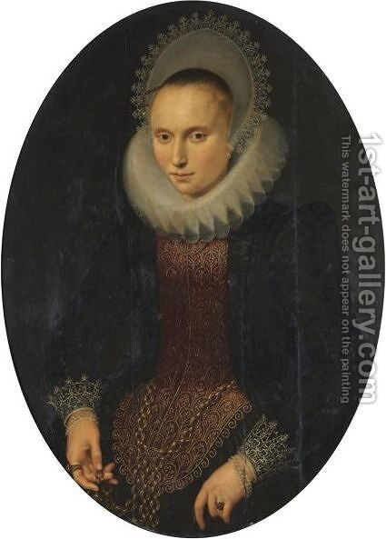 Portrait Of A Lady, Half-Length, Wearing A Red And Black Richly Embroidered Jacket, A White Ruff And A White Headdress by Cornelis van der Voort - Reproduction Oil Painting