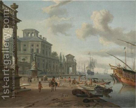 A Capriccio View Of An Italianate Harbour With Figures On The Quay Beneath Classical Buildings by Abraham Storck - Reproduction Oil Painting