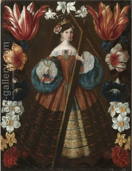 Saint Helena Surrounded By A Garland Of Flowers by Spanish School - Reproduction Oil Painting