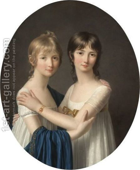 Portrait Of Two Sisters, Half Length, Wearing White Dresses by Marie-Victoire Lemoine - Reproduction Oil Painting