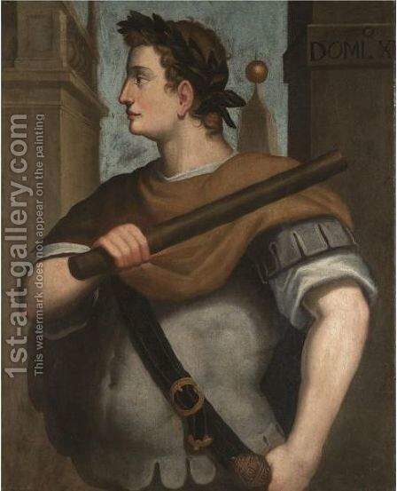 Portrait Of The Emperor Domitian, Half-Length Standing In Profile, Wearing A Laurel Wreath And Holding A Baton by (after) Bernardino Campi - Reproduction Oil Painting