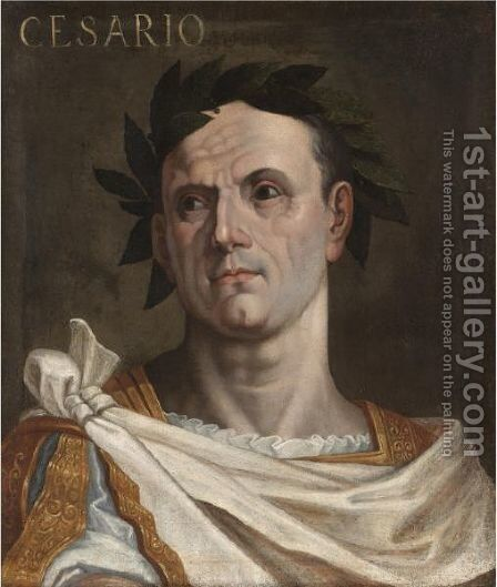 Portrait Of Julius Ceaser, Bust Length, Wearing A Toga And A Laurel Wreath by (after) Bernardino Campi - Reproduction Oil Painting