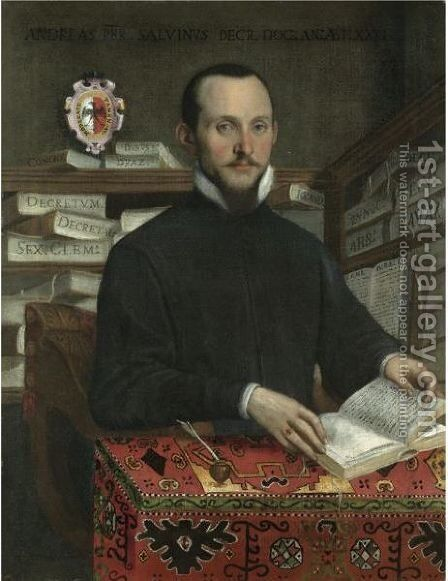 Portrait Of A Scholar In His Library, Half Length, Holding A Book by (after) Federico Fiori Barocci - Reproduction Oil Painting