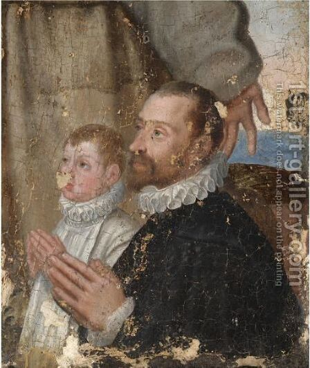 Portrait Of A Gentleman And A Boy At Prayer by Emilian School - Reproduction Oil Painting