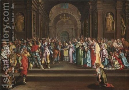 The Marriage Of The Virgin by Italian School - Reproduction Oil Painting