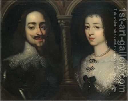 Portraits Of King Charles I And Queen Henrietta Maria, Bust Length, Set Within Feigned Ovals by (after) Dyck, Sir Anthony van - Reproduction Oil Painting