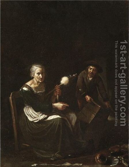 An Interior With An Old Lady Spinning, Together With A Young Boy Carrying A Box by (after) Michiel Sweerts - Reproduction Oil Painting