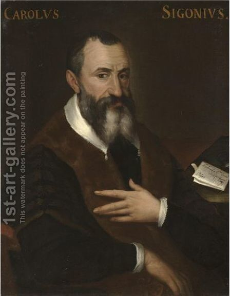 Portrait Of Carlo Sigonio, Half Length, Seated, Wearing A Black And Brown Coat With A White Collar by (after) Bartolomeo Passerotti - Reproduction Oil Painting