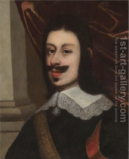 Portrait Of A Gentleman, Head And Shoulders, Wearing A Black Doublet And A Gold Sash by (after) Justus Sustermans - Reproduction Oil Painting