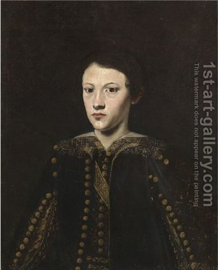 Portrait Of A Young Boy, Half Length, Wearing A Gold-Embroidered Doublet by (after) Massimo Stanzione - Reproduction Oil Painting