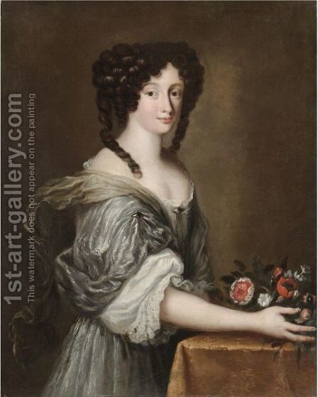 Portrait Of A Lady, Half Length, Wearing A White Silk Dress And Holding A Bouquet Of Flowers by (after) Jacob Ferdinand Voet - Reproduction Oil Painting