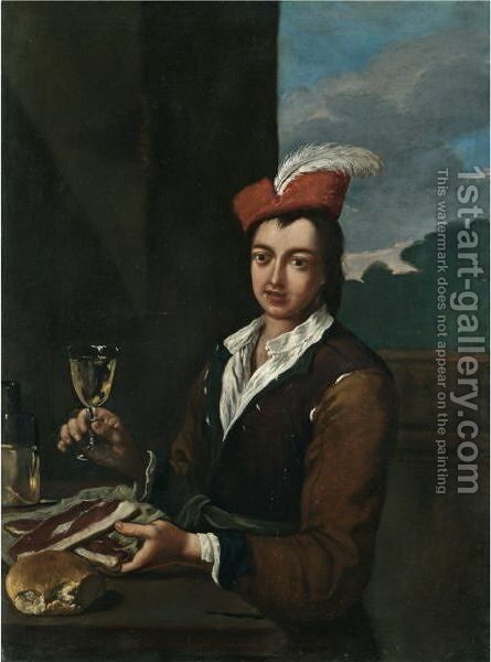 Portrait Of A Boy Seated At Table Holding A Glass Of Wine And Two Steaks by (after) Antonio Amorosi - Reproduction Oil Painting