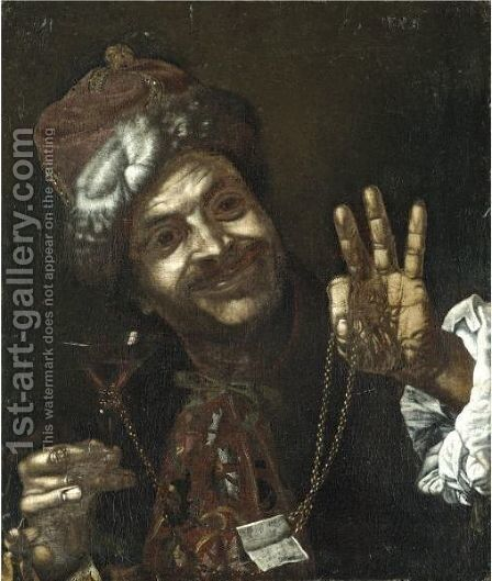 Portrait Of A Smiling Man Holding Up A Wine-Glass And A Gold Chain by (after) Pietro Bellotti - Reproduction Oil Painting
