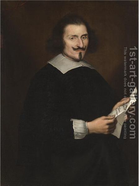 Portrait Of A Gentleman, Half Length, Said To Be Traiano Buoninsegni by (after) Giovanni Bernardo Carbone - Reproduction Oil Painting