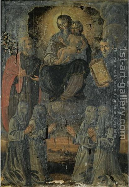 Madonna And Child With Saint Joseph And Another Male Saint, Possibly Saint Ignatius Of Loyola, Together With Penitents by Italian School - Reproduction Oil Painting