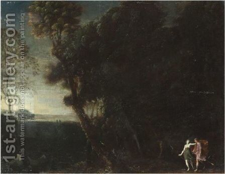 A Wooded Landscape With Two Hunters, Probably Cephalus And Procris by (after) Francesco Allegrini - Reproduction Oil Painting