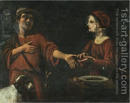 A Young Man Having His Fortune Told by (after) Angelo Caroselli - Reproduction Oil Painting