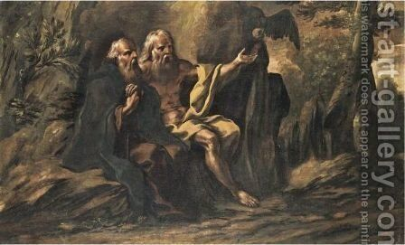 Paul The Hermit And Anthony The Great In The Wilderness by (after) Francesco Cozza - Reproduction Oil Painting