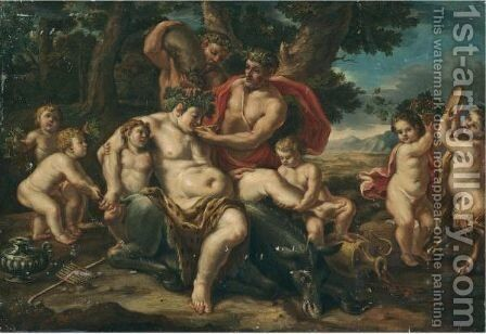 The Drunken Silenus On His Ass Surrounded By Putti by (after) Sebastiano Ricci - Reproduction Oil Painting