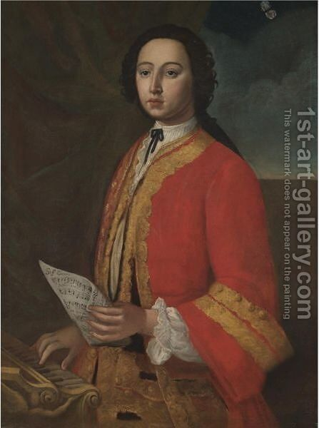 Portrait Of A Gentleman, Half Length, Holding A Sheet Of Music And Standing Before A Spinnet by (after) Giuseppe Bonito - Reproduction Oil Painting