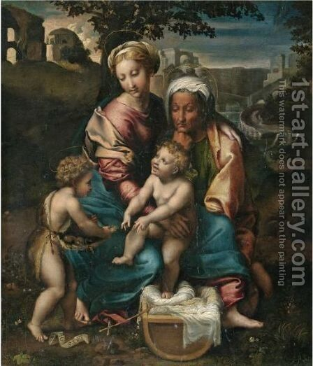 The Madonna And Child With Saint Anne And The Infant Saint John The Baptist by (after) Raphael (Raffaello Sanzio of Urbino) - Reproduction Oil Painting
