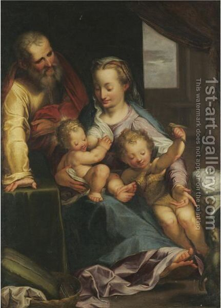The Holy Family With The Infant Saint John The Baptist by (after) Federico Fiori Barocci - Reproduction Oil Painting