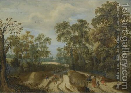Peasants On A Country Road At A Forest Edge, A Church Beyond by (after) Willem Van Den Bundel - Reproduction Oil Painting