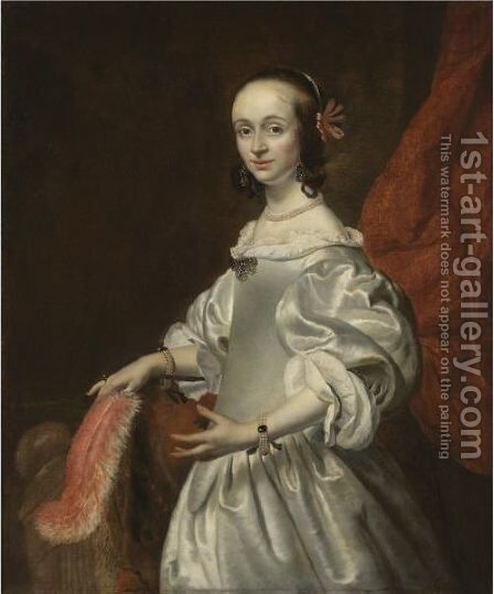 Portrait Of A Young Lady, Half Length, Wearing A White Satin Dress And Holding A Feather by (after) Isaac Luttichuys - Reproduction Oil Painting