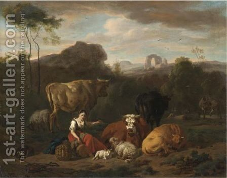 An Italianate Landscape With A Shepherdess Seated Amongst Sheep And Cattle by Dirk van Bergen - Reproduction Oil Painting