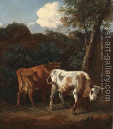 Two Cows Resting Under A Tree In A Landscape by (after) Adriaen Van De Velde - Reproduction Oil Painting