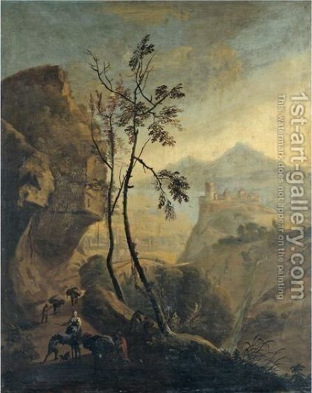 A Southern Landscape With Travellers And Their Donkeys In The Foreground by (after) Jan Both - Reproduction Oil Painting