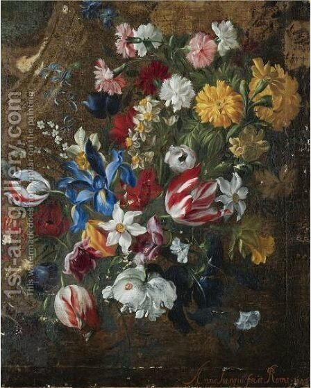 A Flower Garland Of Tulips, Daffodils, Irises, Carnations, Forget-Me-Nots, Morning Glory And Other Flowers by Italian School - Reproduction Oil Painting