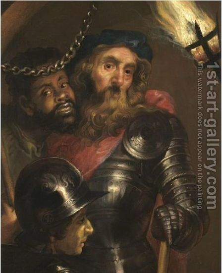 A Gentleman Wearing Armour And A Red Sash With A Moor And A Guard by (after) Johann Ulrich Mayr - Reproduction Oil Painting