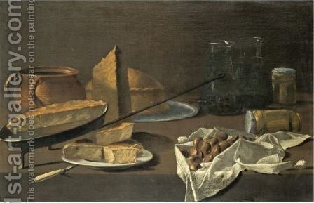 A Still Life With An Earthenware Jug, A Tortilla In A Frying Pan by Spanish School - Reproduction Oil Painting