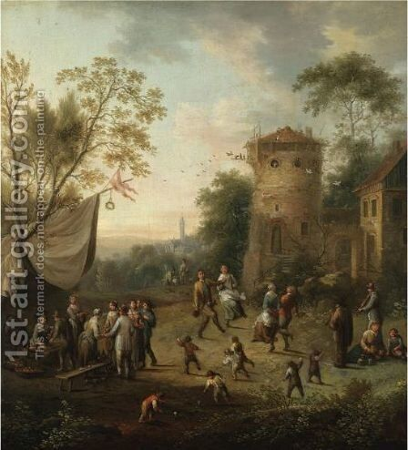 A Village Kermesse With Figures Dancing by Johann Christian Vollerdt or Vollaert - Reproduction Oil Painting