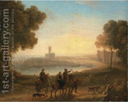 A Classical Landscape With Figures In The Foreground by (after) Claude Lorrain (Gellee) - Reproduction Oil Painting