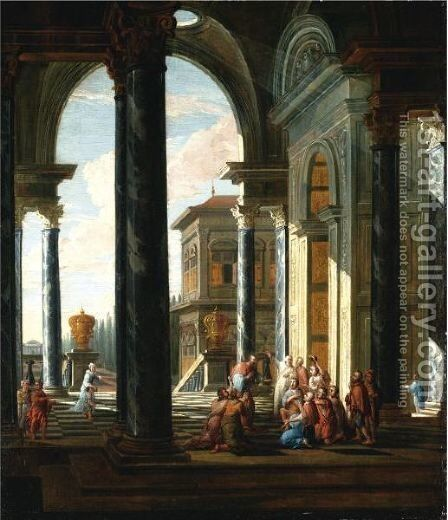 An Architectural Capriccio With Christ Healing The Sick by (after) Jacobus Saeys - Reproduction Oil Painting