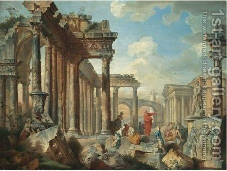 A Capriccio View Of Architectural Ruins With Saint Peter Preaching by (after) Giovanni Paolo Panini - Reproduction Oil Painting