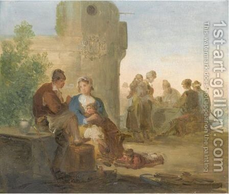 A Landscape With Peasants Resting Outside A Tavern by Giuseppe Bernardino Bison - Reproduction Oil Painting