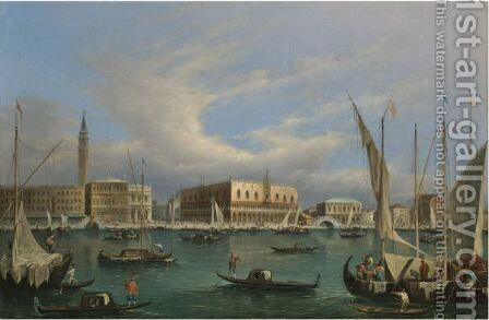 Venice, A View Of The Molo And The Doge's Palace From The Grand Canal by (after) Francesco Guardi - Reproduction Oil Painting