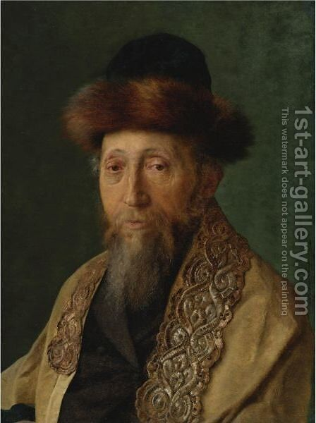 Portrait Of A Rabbi With Tallit by Isidor Kaufmann - Reproduction Oil Painting