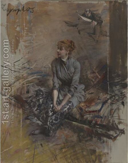Portrait Of Madame Gabrielle Rejane by Giovanni Boldini - Reproduction Oil Painting
