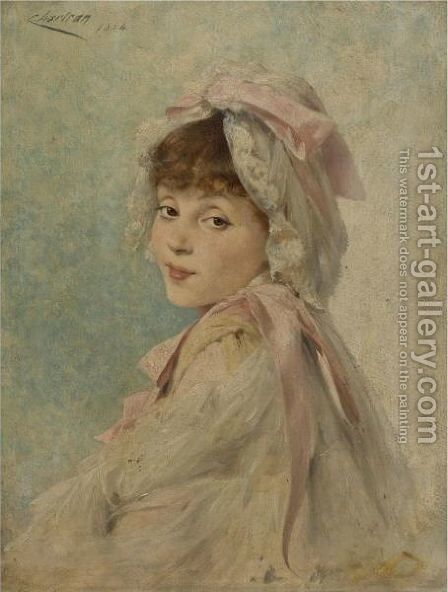 Portrait Of Gabrielle Rejane As A Young Actress by Théobald Chartran - Reproduction Oil Painting