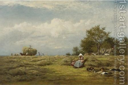 An English Hayfield by Benjamin Williams Leader - Reproduction Oil Painting